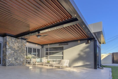 Woodgrain effect opening roof system.