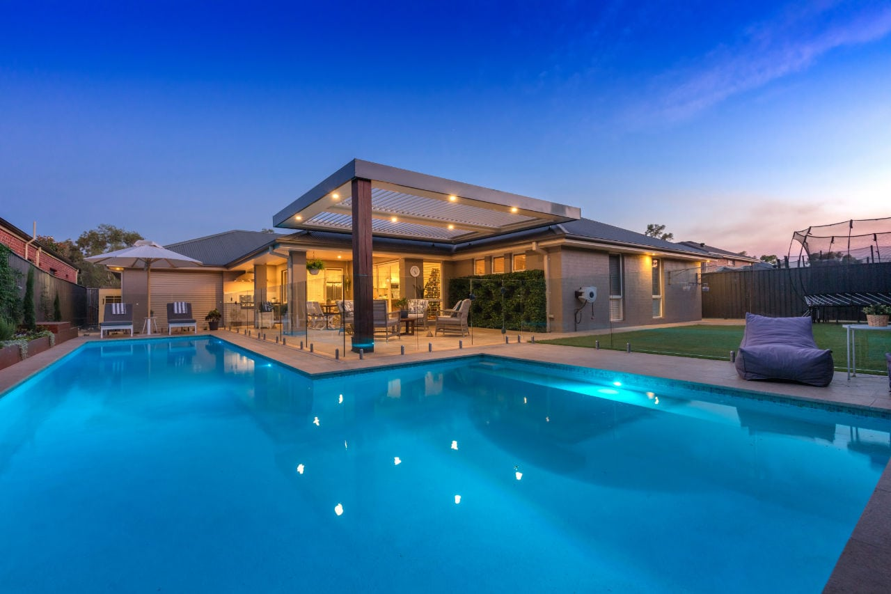 LED downlights shining on the pool.